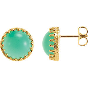 14K Yellow 10 mm Round Chrysoprase Earrings