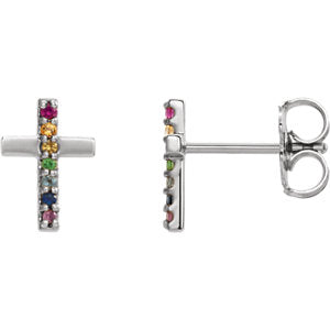 Sterling Silver Multi-Gemstone Cross Earrings