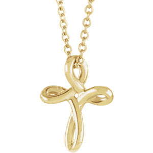 "14K Yellow 13.35x10.42 mm Youth Cross 16-18"" Necklace - Siddiqui Jewelers"