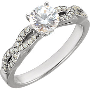 14K White 5.2 mm Round Cubic Zirconia & 1/5 CTW Diamond Engagement Ring - Siddiqui Jewelers