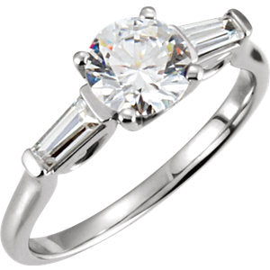 14K White Cubic Zirconia & 1/4 CTW Diamond Sculptural-Inspired Engagement Ring - Siddiqui Jewelers
