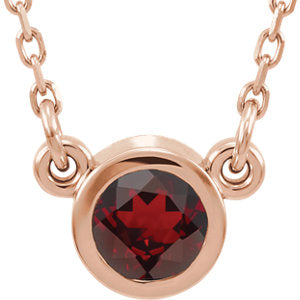 "14K Rose 4 mm Round Mozambique Garnet Bezel-Set Solitaire 16"" Necklace - Siddiqui Jewelers"
