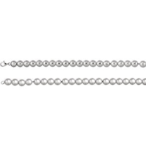 "Sterling Silver 10 mm Bead 8"" Chain - Siddiqui Jewelers"