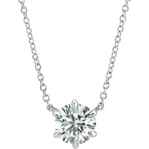 "14K White 1/2 CT Diamond Solitaire 18"" Necklace - Siddiqui Jewelers"