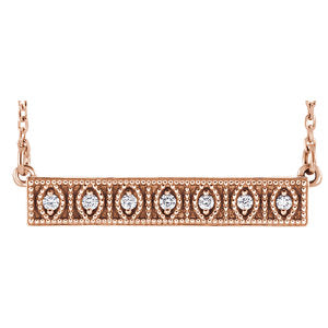 "14K Rose .06 CTW Diamond Milgrain Bar 16-18"" Necklace - Siddiqui Jewelers"