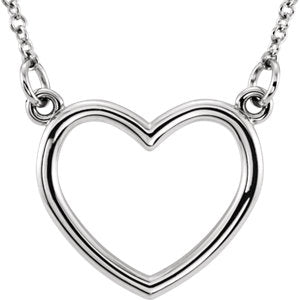 "14K White 13x13.75 mm Heart 16"" Necklace - Siddiqui Jewelers"