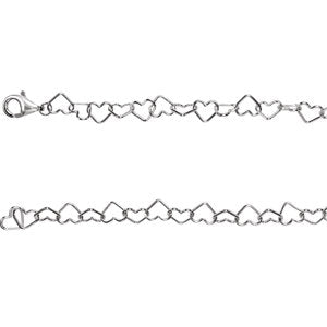 "Sterling Silver 6 mm Heart Link 7.25"" Chain"