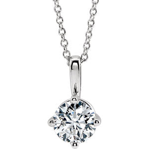 "14K White 3/4 CT Diamond Solitaire 16-18"" Necklace - Siddiqui Jewelers"