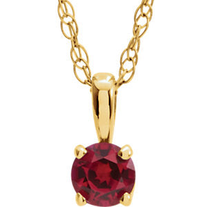 "14K Yellow 3 mm Round July Chatham® Lab-Created Ruby Youth Birthstone 14"" Necklace - Siddiqui Jewelers"