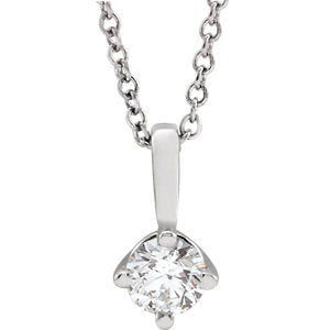"14K White 1/4 CT Diamond Solitaire 16-18"" Necklace - Siddiqui Jewelers"