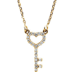 "14K Yellow 1/8 CTW Diamond Petite Heart Key 16.5"" Necklace - Siddiqui Jewelers"