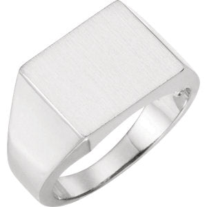 Sterling Silver 15x14 mm Square Signet Ring - Siddiqui Jewelers