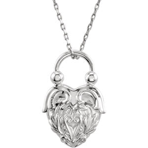 "Sterling Silver Vintage-Inspired Heart 18"" Necklace - Siddiqui Jewelers"