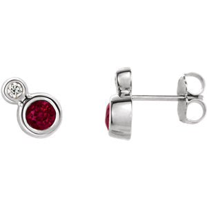 14K White Ruby & .03 CTW Diamond Earrings