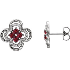 14K White Chatham® Created Ruby & 1/5 CTW Diamond Clover Earrings - Siddiqui Jewelers