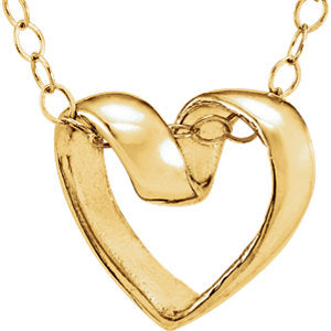 "14K Yellow Ribbon Heart 15"" Necklace - Siddiqui Jewelers"