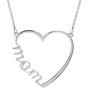 "14K White ""Mom"" Heart 17"" Necklace - Siddiqui Jewelers"
