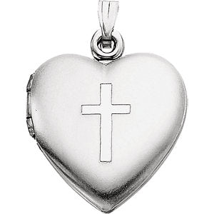 Sterling Silver 15.5x13 mm Heart Locket with Cross
