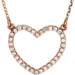 "14K Rose 1/4 CTW Diamond Small Heart 16"" Necklace - Siddiqui Jewelers"