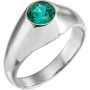 14K White 6.5 mm Round Chatham® Created Emerald Ring - Siddiqui Jewelers