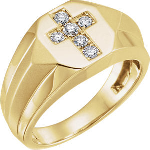 14K Yellow 1/3 CTW Diamond Cross Ring - Siddiqui Jewelers