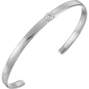 "Sterling Silver Diamond Cuff 6"" Bracelet"