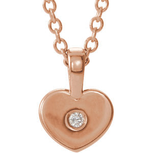 "14K Rose .01 CT Diamond Youth Heart 16"" Necklace - Siddiqui Jewelers"