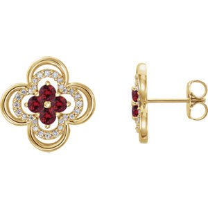 14K Yellow Chatham® Created Ruby & 1/5 CTW Diamond Clover Earrings - Siddiqui Jewelers