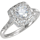 14K White 5.75 mm Cubic Zirconia & 1/5 CTW Diamond Sculptural-Inspired Engagement Ring - Siddiqui Jewelers