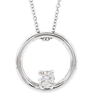 "14K White 5/8 CTW Lab-Grown Diamond 18"" Necklace - Siddiqui Jewelers"