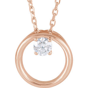 "14K Rose 1/10 CTW Diamond Circle 16-18"" Necklace - Siddiqui Jewelers"