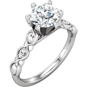 Continuum Sterling Silver & 14K White 4 mm Round Cubic Zirconia & .04 CTW Diamond Engagement Ring
