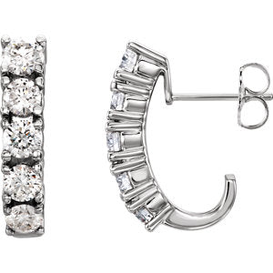 14K White Five-Stone J-Hoop Earring Mounting - Siddiqui Jewelers