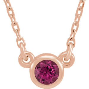 "14K Rose 3 mm Round Pink Tourmaline Bezel-Set Solitaire 16"" Necklace - Siddiqui Jewelers"