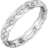 14K White 1/6 CTW Diamond Sculptural-Inspired Eternity Band Size 5.5 - Siddiqui Jewelers