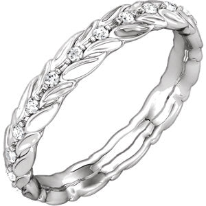 14K White 1/6 CTW Diamond Sculptural-Inspired Eternity Band Size 7.5 - Siddiqui Jewelers