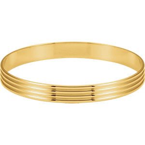 14K Yellow 8 mm Grooved Bangle Bracelet