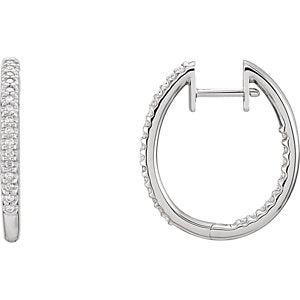 14K White 1/4 CTW Diamond Inside-Outside Hinged Hoop Earrings