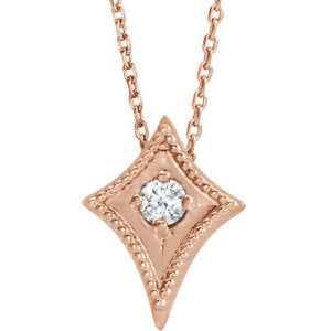 "14K Rose 1/10 CTW Diamond Kite 16-18"" Necklace - Siddiqui Jewelers"