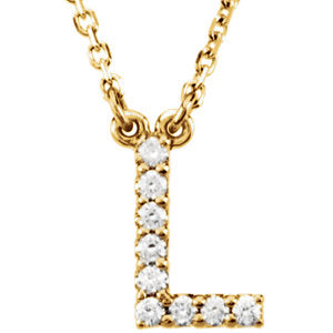 "14K Yellow Letter ""L"" .08 CTW Diamond 16"" Necklace - Siddiqui Jewelers"