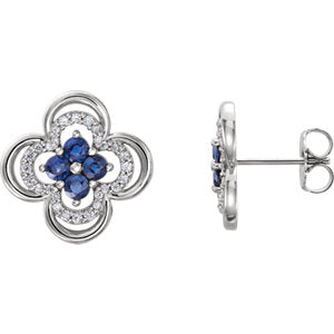 14K White Chatham® Created Blue Sapphire & 1/5 CTW Diamond Clover Earrings - Siddiqui Jewelers