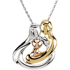 "18K Yellow Gold-Plated and 14K Rose Gold-Plated Sterling Silver 1 Child Family 18"" Necklace"