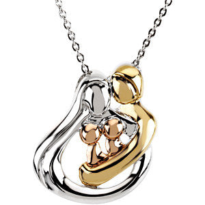 "18K Yellow Gold-Plated and 14K Rose Gold-Plated Sterling Silver 2 Child Family 18"" Necklace - Siddiqui Jewelers"