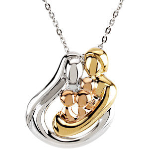 "18K Yellow Gold-Plated and 14K Rose Gold-Plated Sterling Silver 3 Child Family 18"" Necklace"