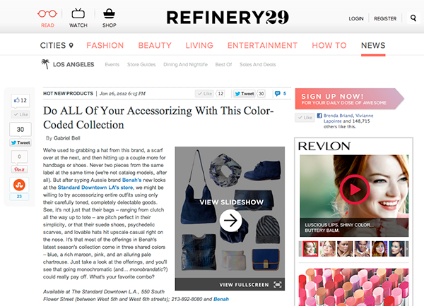 Refinery 29 feature on Brenda Briand designer and director of Benah fashion brand dedicated to the creation of luxurious hand-finished handbags and accessories Online destination shop the latest signature karen walker leather goods
