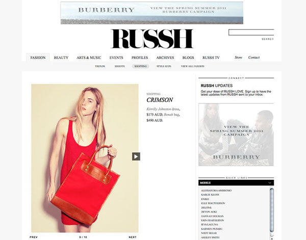 Russh Magazine feature on Brenda Briand designer and director of Benah fashion brand dedicated to the creation of luxurious hand-finished handbags and accessories Online destination shop the latest signature karen walker leather goods