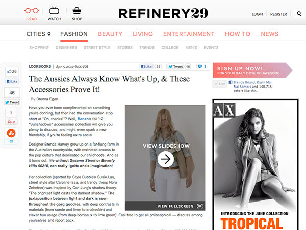 Refinery29 feature on Brenda Briand designer and director of Benah fashion brand dedicated to the creation of luxurious hand-finished handbags and accessories Online destination shop the latest signature Karen Walker leather goods