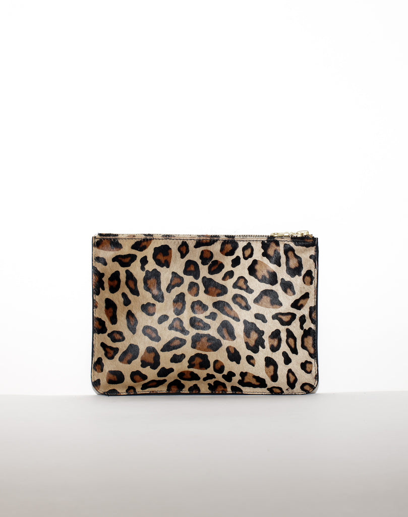 LARGE ZIP POUCH | Tan Leopard