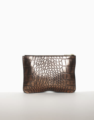 LARGE ZIP POUCH | Bronze Croc
