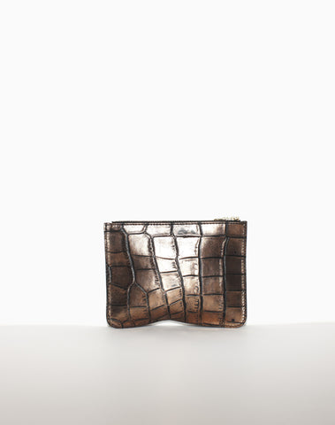 MEDIUM ZIP POUCH | Bronze Croc